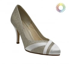 Rainbow Club Mila Ivory/Silver Shimmer Wide Fit Court Shoes