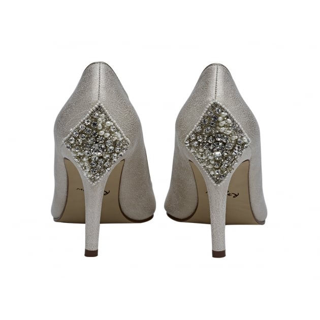 Rainbow Club Natala Champagne Embellished Heel Peep Toe Shoes