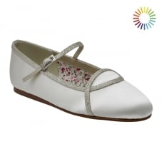Rainbow Club Orlana Ivory/Silver Shimmer Ballet Kids Shoes