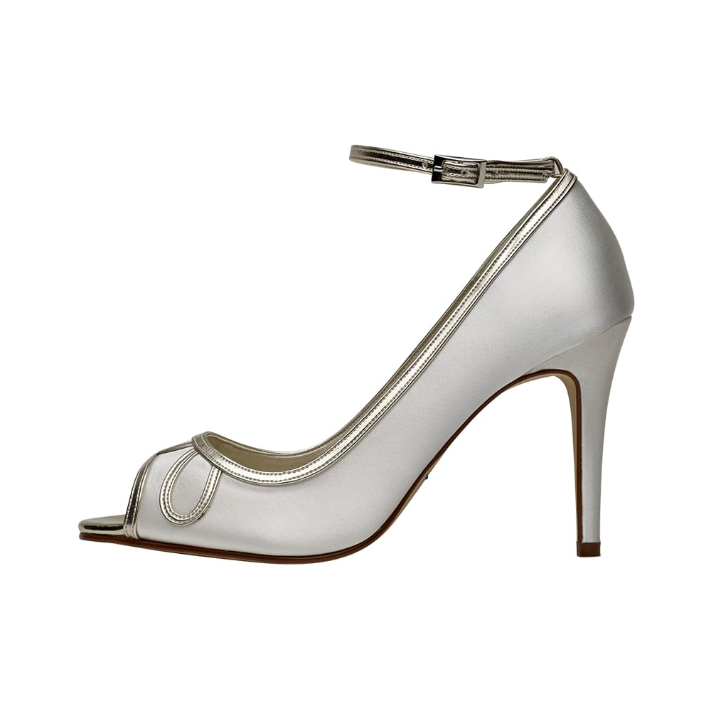 e73f97263 Rainbow Club Pearle Ivory/Gold Detail Peep Toe Shoes - Shoes.co.uk