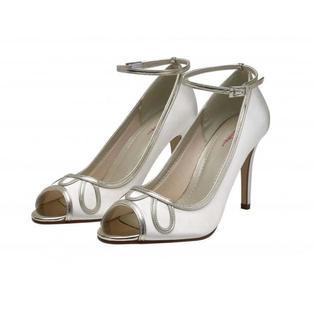 Rainbow Club Pearle Ivory/Gold Detail Peep Toe Shoes