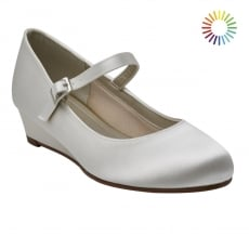 Rainbow Club Skyla Ivory Satin Wedge Kids Shoes