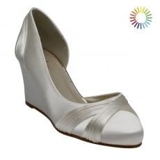 Rainbow Club Tamzin Ivory Satin Elegant Wedge Shoes