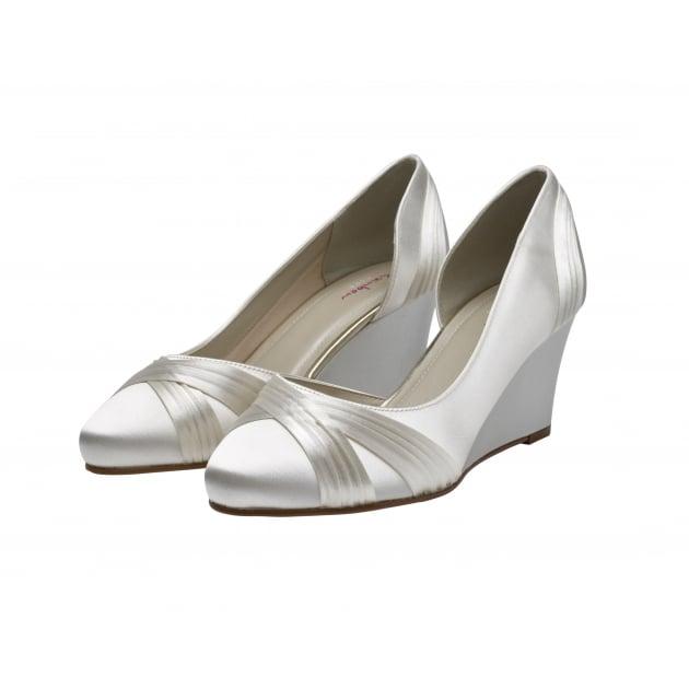 Tamzin Ivory Satin Elegant Wedge Shoes