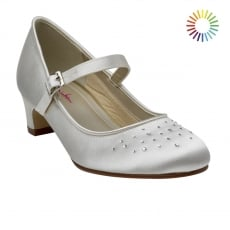 Rainbow Club Verity White Satin Bar Kids Shoes