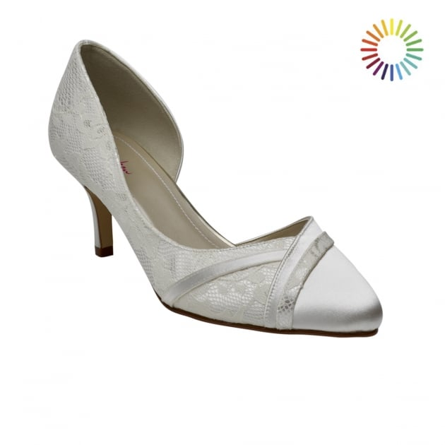 Rainbow Club Wilma Ivory Open Waisted Lace Court Shoes