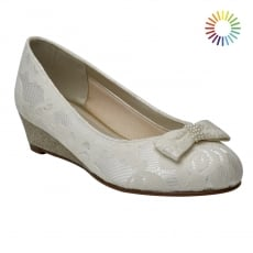 Rainbow Club Zoe Ivory Lace Wedge Kids Shoes