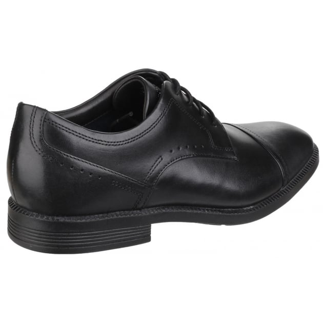 DresSports Modern Cap Toe Lace Up Black Shoes
