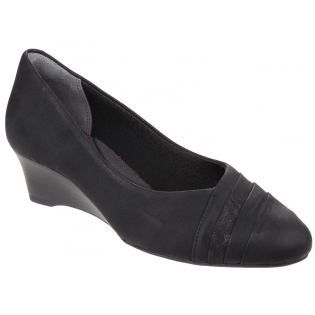 Rockport Total Motion Cerelia Calanthe Layer Slip On Wedge Pump Black Nubuck