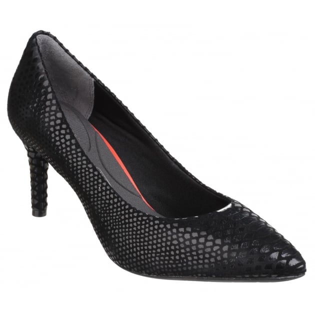 Rockport Total Motion Pointy Toe Slip On Stiletto Pump Black Boa