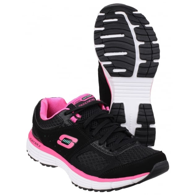 Skechers Agility Perfect Fit Trainer Black/Hot Pink Shoes