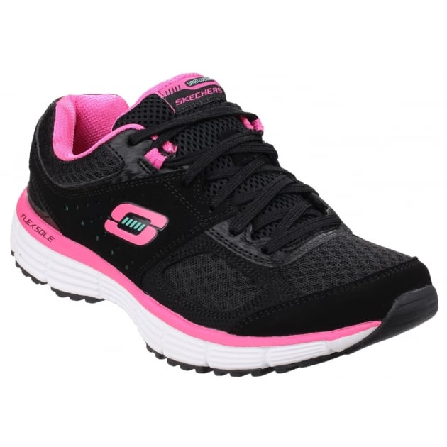 Skechers Agility Perfect Fit Trainer Black/Hot Pink SK11903