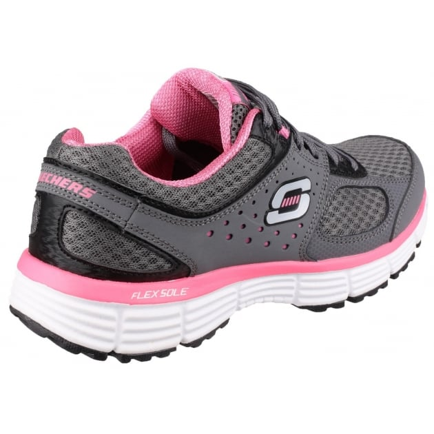 Skechers Agility Perfect Fit Trainer Charcoal/Hot Pink Shoes