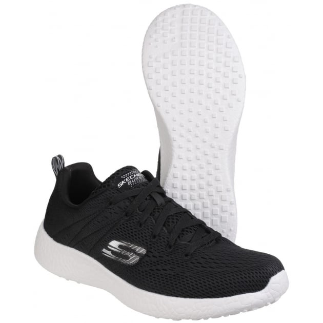Skechers Burst Second Wind Memory Foam Lace Up Black/White Trainer