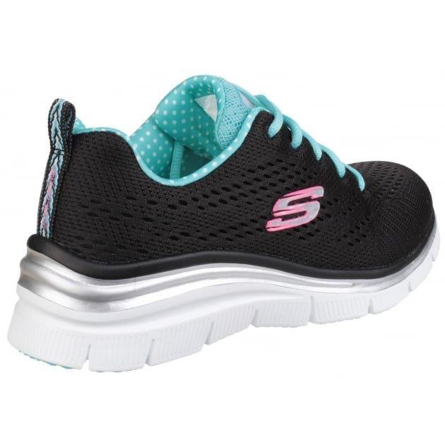 Skechers Fashion Fit - Statement Piece Lace Up Sports Shoe Black/Turquoise Shoes