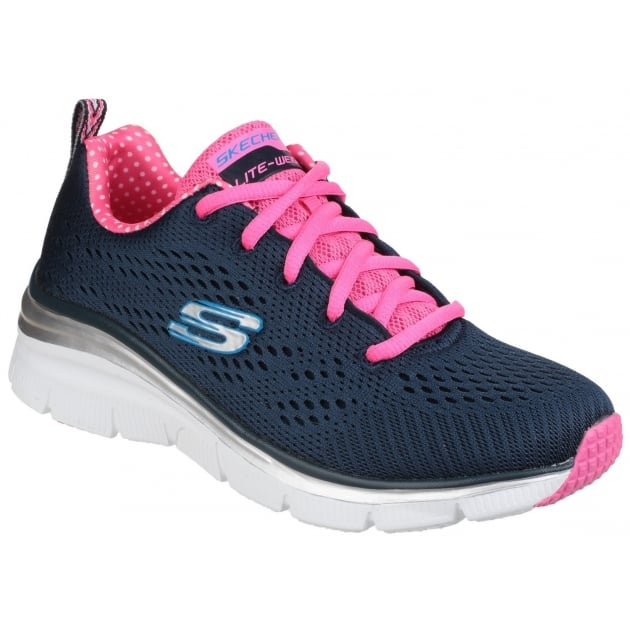 Skechers Fashion Fit - Statement Piece Lace Up Sports Shoe Navy/Pink Shoes