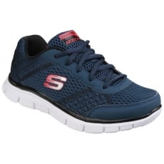 Skechers Flex Advantage Master Quest Memory Foam Lace Up Boys Navy/Red