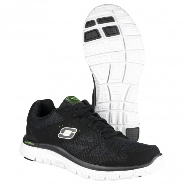 Skechers Flex Advantage Sk51252 Black/White/Green Shoes