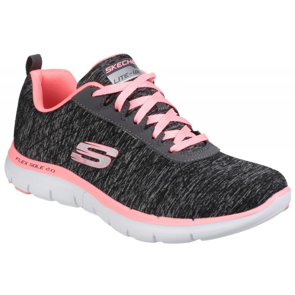 skechers flex appeal 2 0 women 39 s black coral sports free. Black Bedroom Furniture Sets. Home Design Ideas