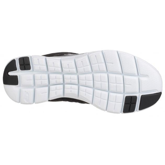 Skechers Flex Appeal 2.0 - Break Free Lace Up Sports Shoe Black/White Shoes