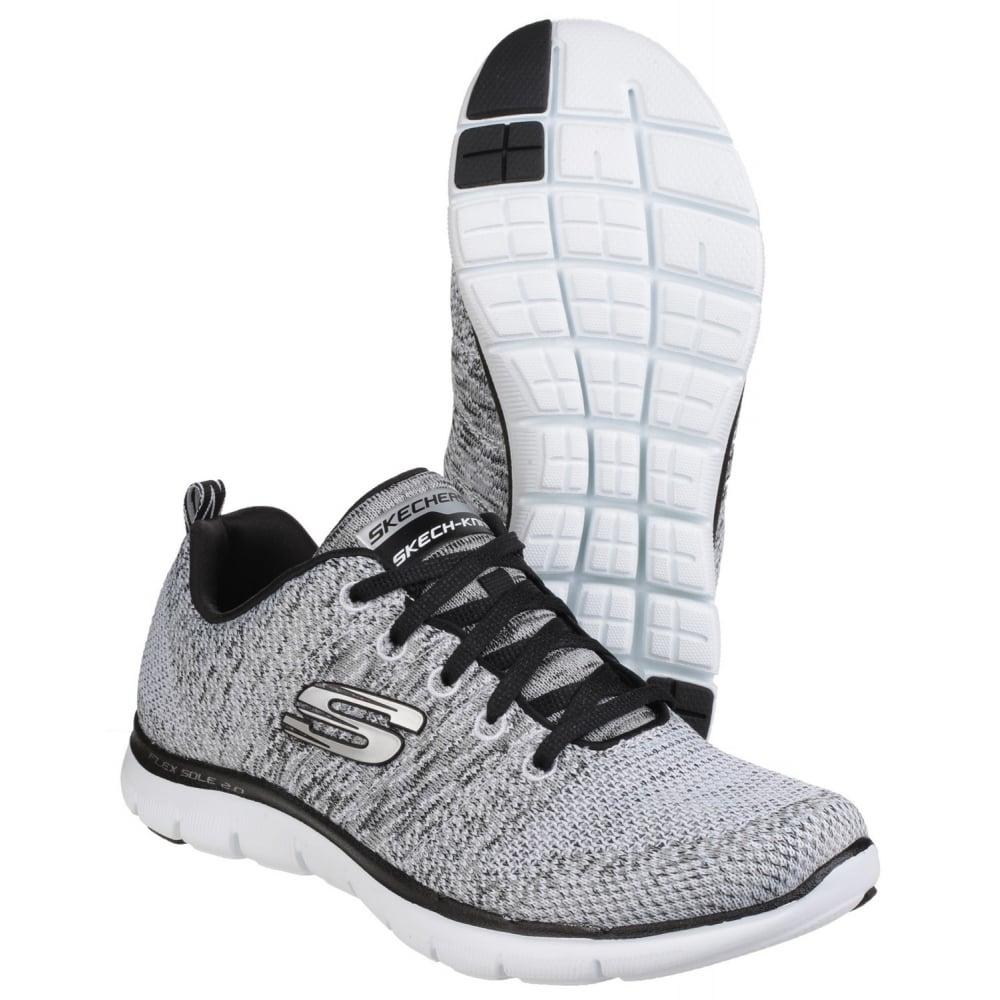 a3a2f7f579f2 Skechers Flex Appeal 2.0 - High Energy Women s White Black Sports ...