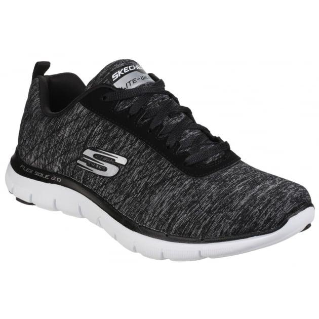 Skechers Flex Appeal 2.0 Lace Up Black/White SK12753
