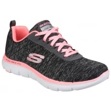 Skechers Flex Appeal 2.0 Lace Up Sports Shoe Black Coral Shoes