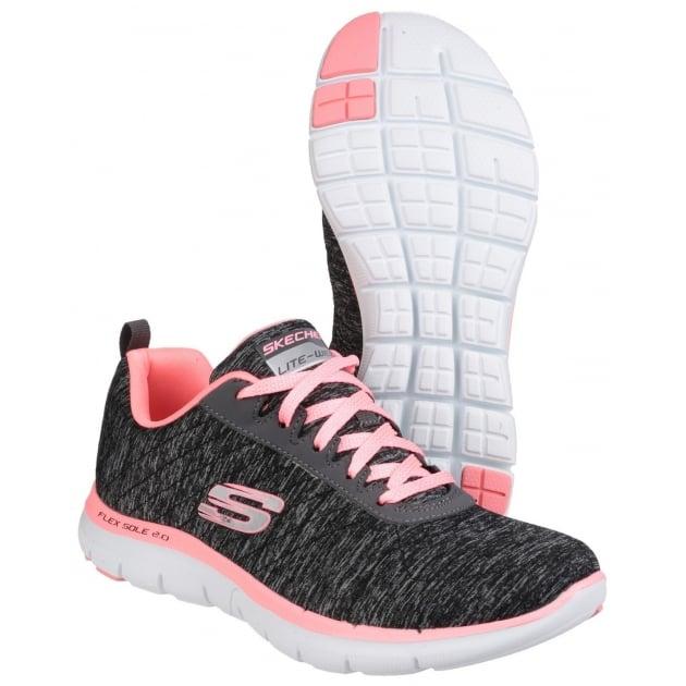 Skechers Flex Appeal 2.0 Lace Up Sports Shoe Black Coral Shoes