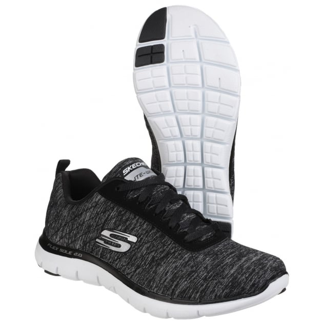 Skechers Flex Appeal 2.0 Lace Up Sports Shoe Black/White Shoes