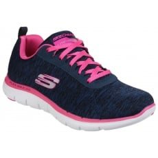 Skechers Flex Appeal 2.0 Lace Up Sports Shoe Navy/Pink Shoes