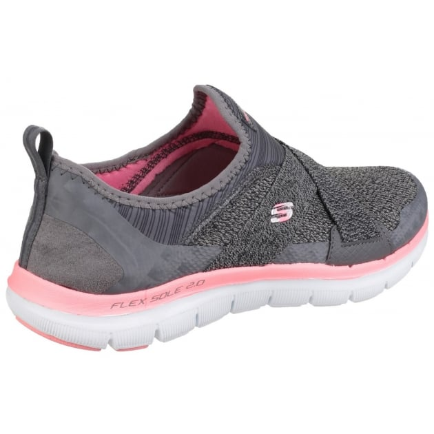 Skechers Flex Appeal 2.0 - New Image Slip On Sports Shoe Charcoal Coral Shoes