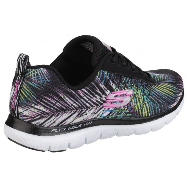 Skechers Flex Appeal 2.0 - Tropical Bree Lace Up Sports Shoe Black Multi Shoes