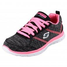 Skechers Flex Appeal Pretty City Black/Hot Pink Shoes