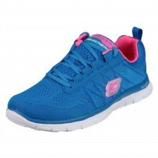 Skechers Flex Appeal Sweet Spot Blue/Hot Pink Shoes