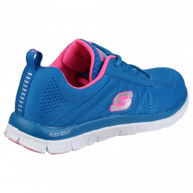 Skechers Flex Appeal Sweet Spot Blue/Hot Pink Shoes