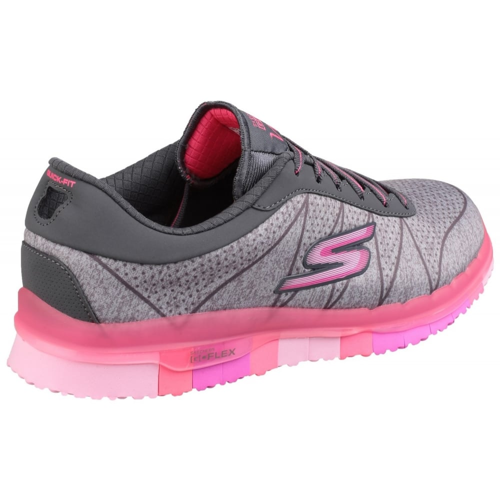 skechers go flex ability lace up grey pink shoes co uk