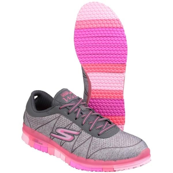 skechers go flex ability lace up grey pink shoes co uk