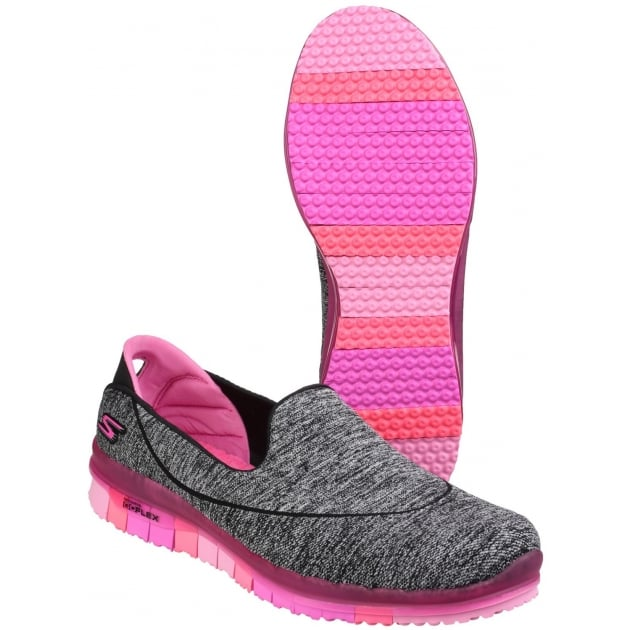 Skechers Go Flex Slip On Sports Shoe Black/Pink Shoes