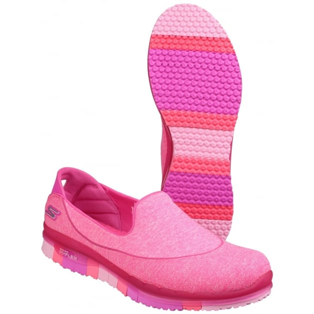 Skechers Go Flex Slip On Sports Shoe Hot Pink Shoes