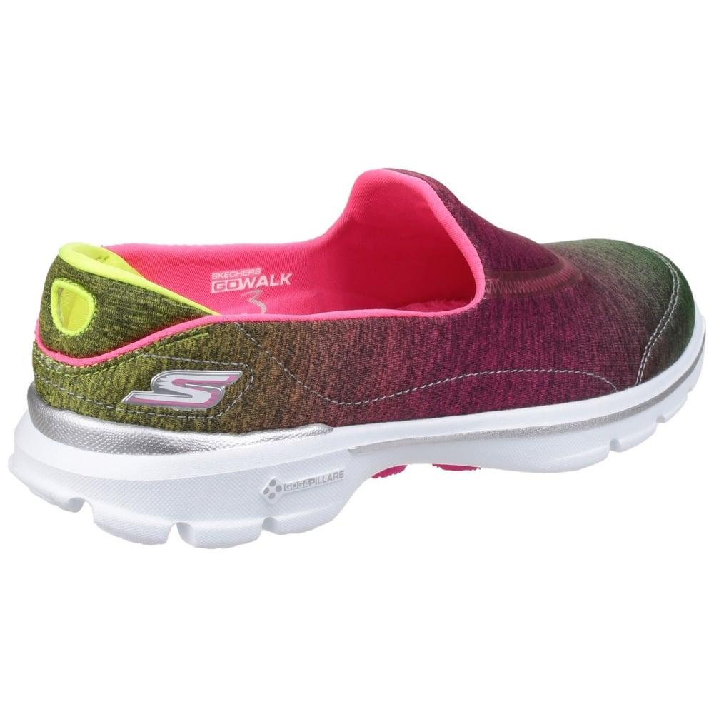 Skechers Go Walk 3 Aura Women S Pink Lime Shoes Free