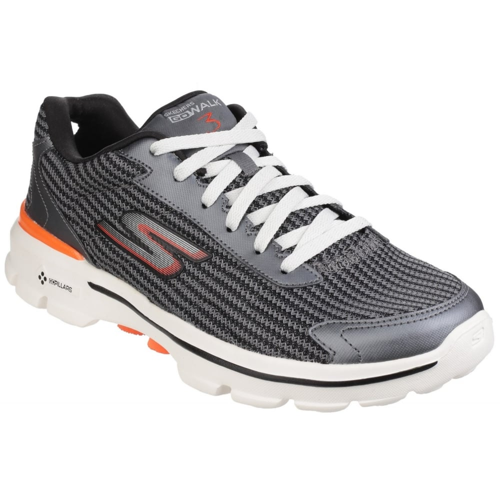 e4781fa93129 Skechers Go Walk 3 Fit Knit Men s Charcoal Orange Sports - Free ...