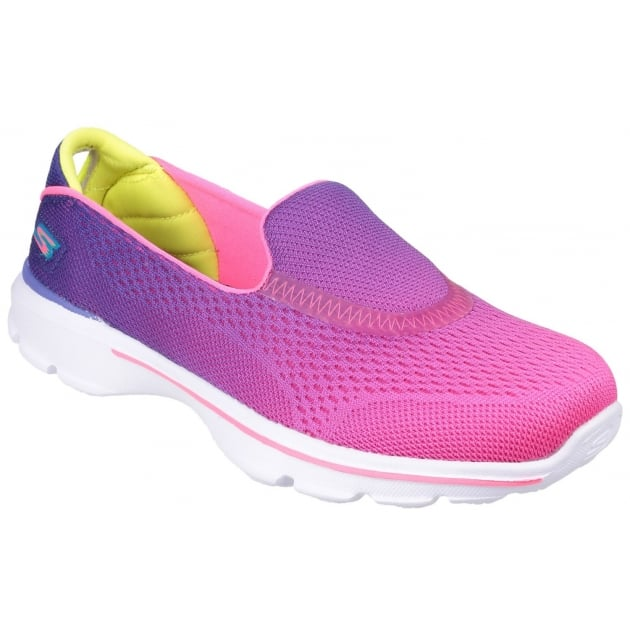 Skechers Go Walk 3 Slip On Girls Purple/ Neon Pink