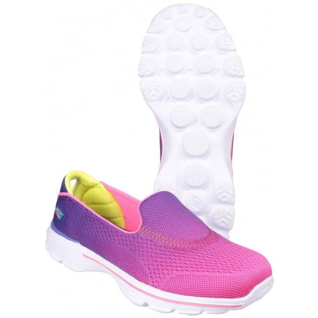 Go Walk 3 Slip On Girls Purple/ Neon Pink