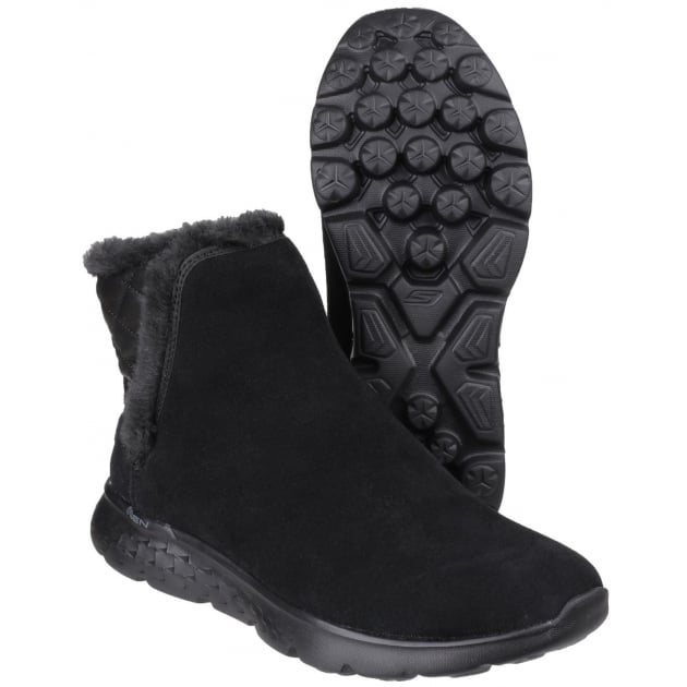 Skechers On The Go 400 - Cozies Pull On Ankle Boots Black SK14356