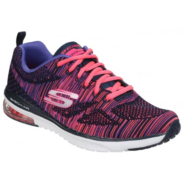 Skechers Skech-Air Infinity - Wildcard Lace Up Sports Shoe Navy/Pink Shoes