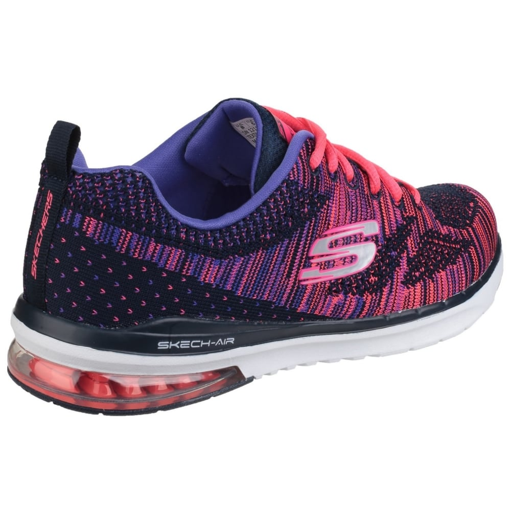 d289b902eb41 ... Skech-Air Infinity - Wildcard Lace Up Sports Shoe Navy Pink Shoes ...