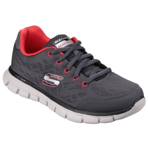 Skechers Synergy Fine Tune Lace Up Boys Grey/Red