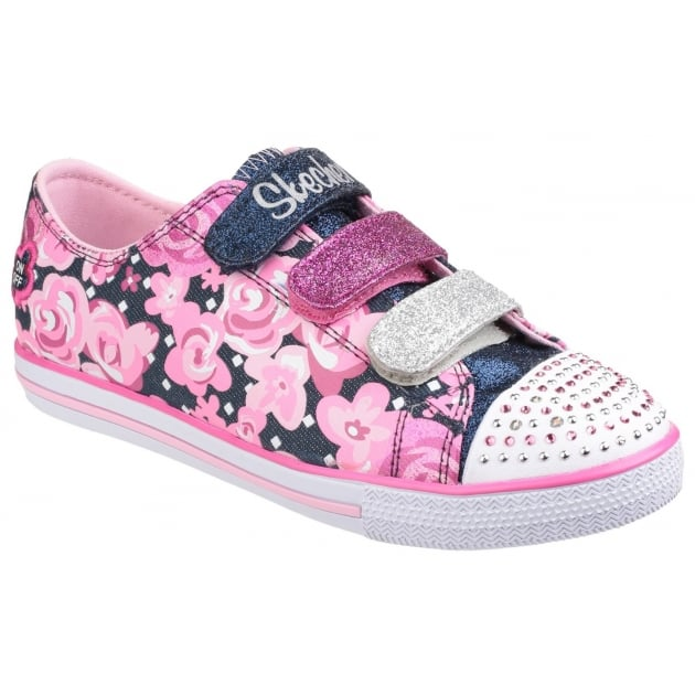 Skechers Twinkle Toes: Chit Chat Glamour Galore Denim/Pink Girls