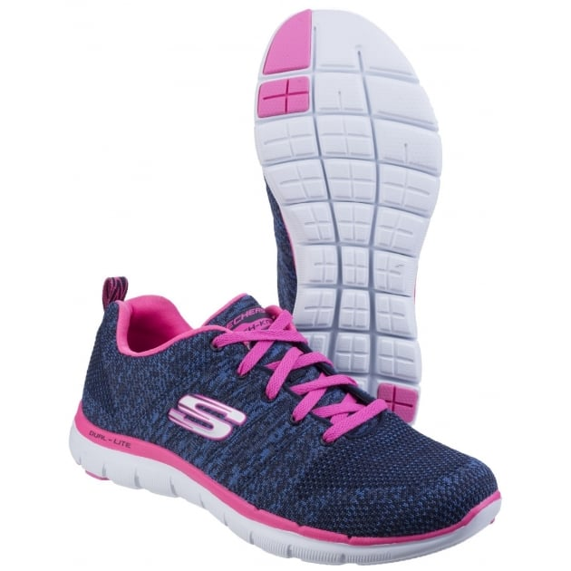 Skechers Flex Appeal 2.0 - High Energy Navy/Hot Pink Trainers